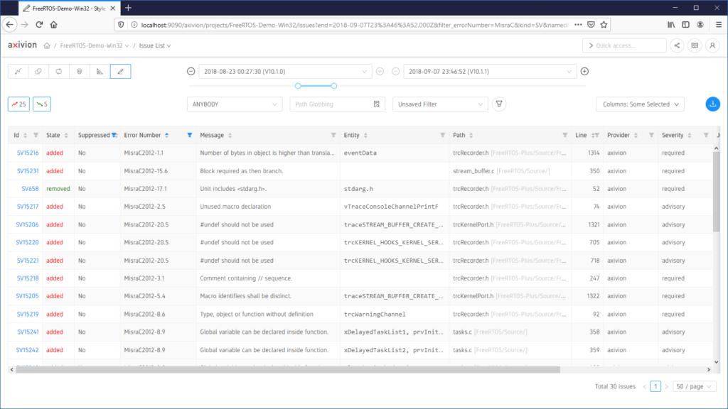 Hier sehen Sie ein Beispiel zu MISRA Verstößen, analysiert mit dem MISRA-Checker der Axivion Suite.