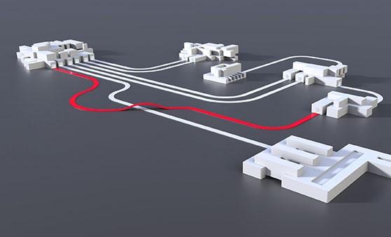 Die Architektur-Analyse der Axivion Suite wird hier mit verschiedensten Fabrikgebäuden symbolisiert, welche nur durch falsche, nicht erlaubte Zufahrten erreicht werden können.