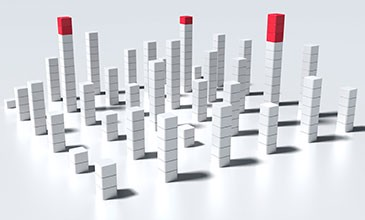 The picture shows stylised building blocks rising to different heights symbolizing Metrics of Axivion Suite.