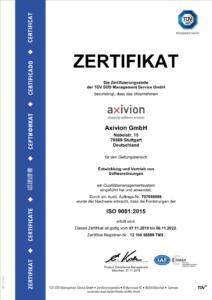 ISO 9001:2015 TÜV Zertifikat für das Qualitätsmanagementsystem für Entwicklung und Vertrieb von Softwarelösungen bei Axivion.