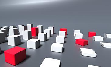 Dieses Bild zeigt stilisierte Quader, die in unterschiedlicher Anordnung den Common Weakness Enumeration Checker der Axivion Suite symbolisieren sollen